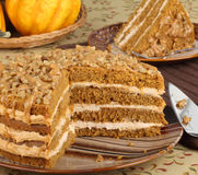 Sliced Pumpkin Layer Cake Royalty Free Stock Photos