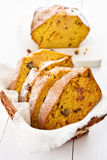 Sliced pumpkin loaf. With nuts, cinnamon and raisin Stock Photo