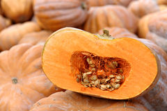 A Sliced Pumpkin At The Market Royalty Free Stock Photo