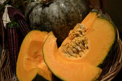 Sliced Pumpkin. Sweet Cooking variety of pumpkin for Thanksgiving in basket sliced with pulp and seeds showing and whole pumpkin in background selective focus Royalty Free Stock Image