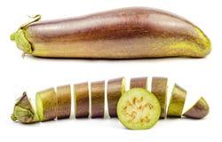 Sliced purple raw eggplant isolated Stock Images