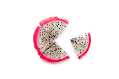 Sliced quarters Dragon Fruit  on the white background Stock Photography