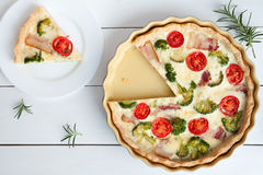 Sliced quiche lorraine traditional homemade french Royalty Free Stock Image