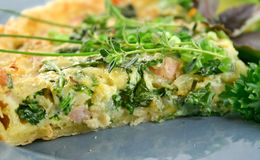 Sliced Quiche And Salad Stock Image