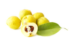 Sliced  quinces with green leaf Royalty Free Stock Photo