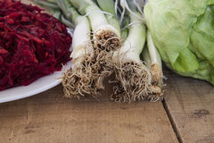 Sliced radishes, leek and lettuce Royalty Free Stock Photos