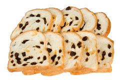 Sliced raisin bread isolated on white background Royalty Free Stock Photo