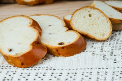 Sliced raisin bread on a tablecloth Royalty Free Stock Image