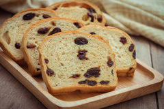 Sliced raisin bread on wooden plate Stock Photography