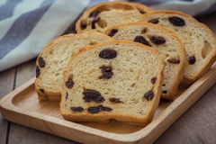 Sliced raisin bread on wooden plate Royalty Free Stock Photos