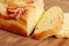 Sliced raspberry pound cake Stock Photo
