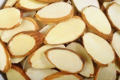 Sliced raw almonds Stock Image
