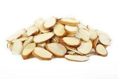 Sliced raw almonds Stock Photo