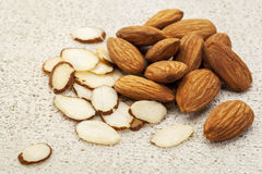Sliced raw almonds Stock Photos