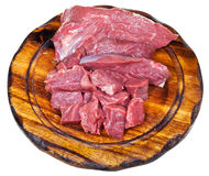 Sliced raw beef meat on cutting board Stock Photos