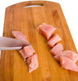 Sliced raw chicken fillet Stock Image