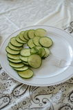 Sliced raw cucumber Royalty Free Stock Photography