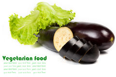 Sliced raw eggplant isolated on white Stock Image