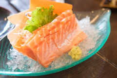 Sliced raw fatty salmon (Salmon sashimi) Royalty Free Stock Photos