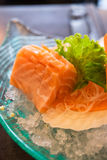 Sliced raw fatty salmon (Salmon sashimi) Royalty Free Stock Photography