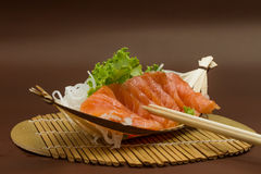 Sliced raw salmon sashimi Stock Photo