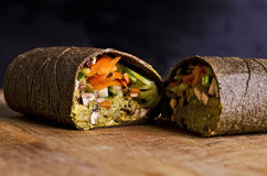 Sliced raw food wrap Stock Photo