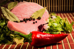Sliced raw meat and pepper. Stock Photography