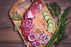 Sliced raw meat pork Stock Photos