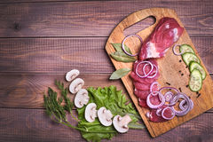 Sliced raw meat pork Royalty Free Stock Photography
