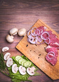 Sliced raw meat pork Royalty Free Stock Images