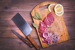 Sliced raw meat pork Royalty Free Stock Photo
