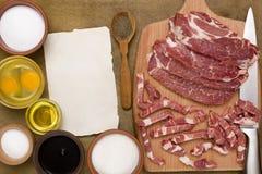 Sliced raw meat pork Stock Photos