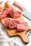 Sliced raw pork meat Royalty Free Stock Images