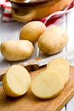 Sliced raw potato Stock Photos