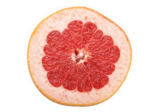 Sliced raw red grapefruit on white Royalty Free Stock Image