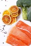 Sliced, raw salmon. Raw salmon on a dish Royalty Free Stock Photos