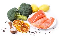 Sliced, raw salmon. Raw salmon on a dish Stock Image