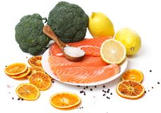 Sliced, raw salmon. Raw salmon on a dish Stock Photos