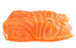 Sliced raw salmon isolated on white background Royalty Free Stock Images
