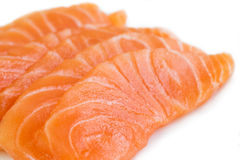 Sliced raw salmon isolated on white background Royalty Free Stock Photo