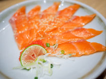 Sliced raw salmon Royalty Free Stock Images