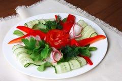 Sliced raw vegetables in white plate on napkin. Vegetable appetizer Stock Image