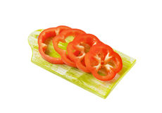 Sliced red bell pepper. On cutting board Royalty Free Stock Photography