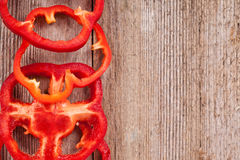 Sliced red bell peppers Royalty Free Stock Photos