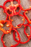 Sliced red bell peppers Royalty Free Stock Images