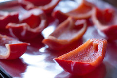 Sliced red bell peppers Royalty Free Stock Photography