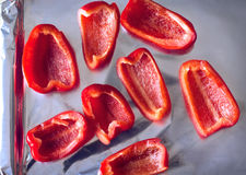 Sliced red bell peppers Stock Photography