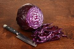 Sliced red cabbage with knife Royalty Free Stock Image
