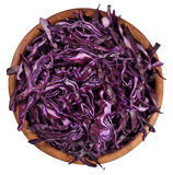 Sliced red cabbage in a wooden bowl on a white Royalty Free Stock Images