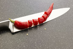 Sliced red chili pepper Royalty Free Stock Photos